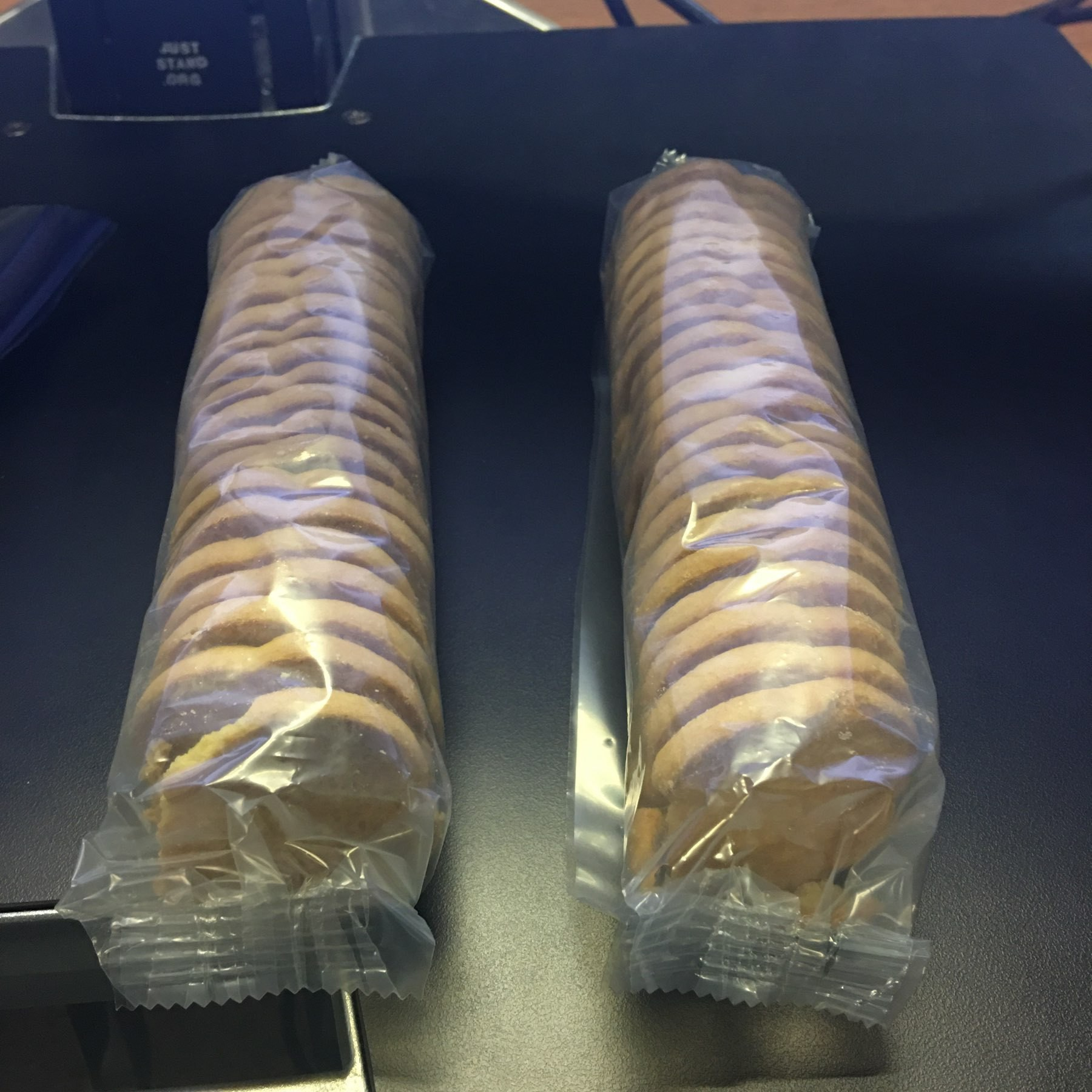 Two rows of cookies.