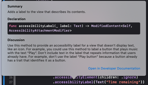 Accessibility Label Popup