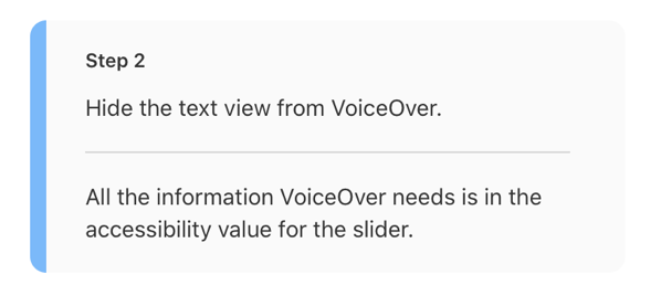 Accessibility step for VoiceOver