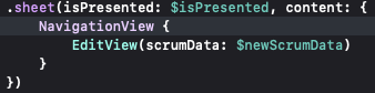 xcode defining a sheet's presentation and content