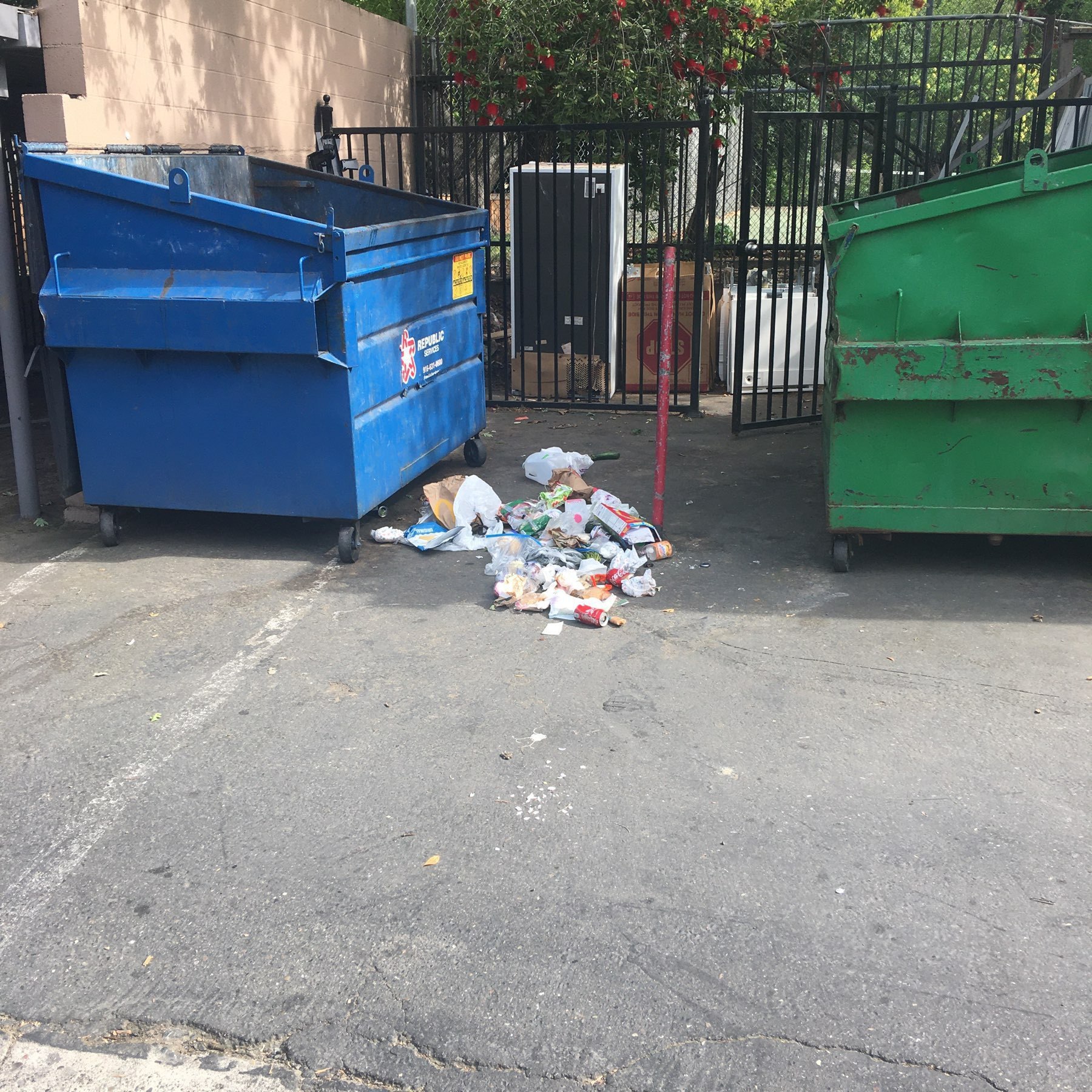 Garbage next to the dumpster.