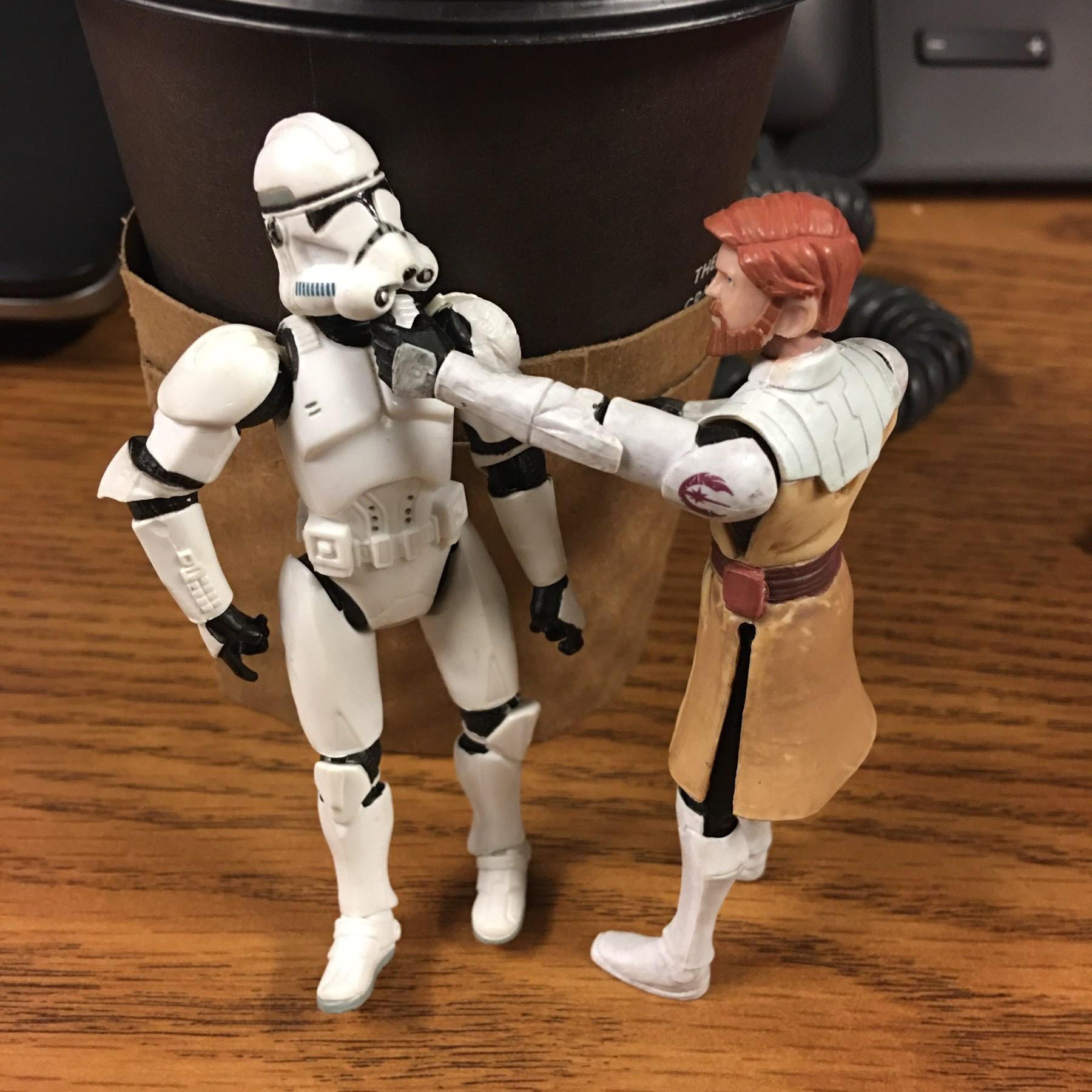 Obi-Wan punching a storm trooper.