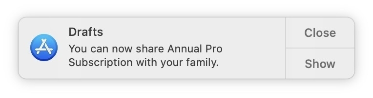 Draft now allows sharing of subscription.