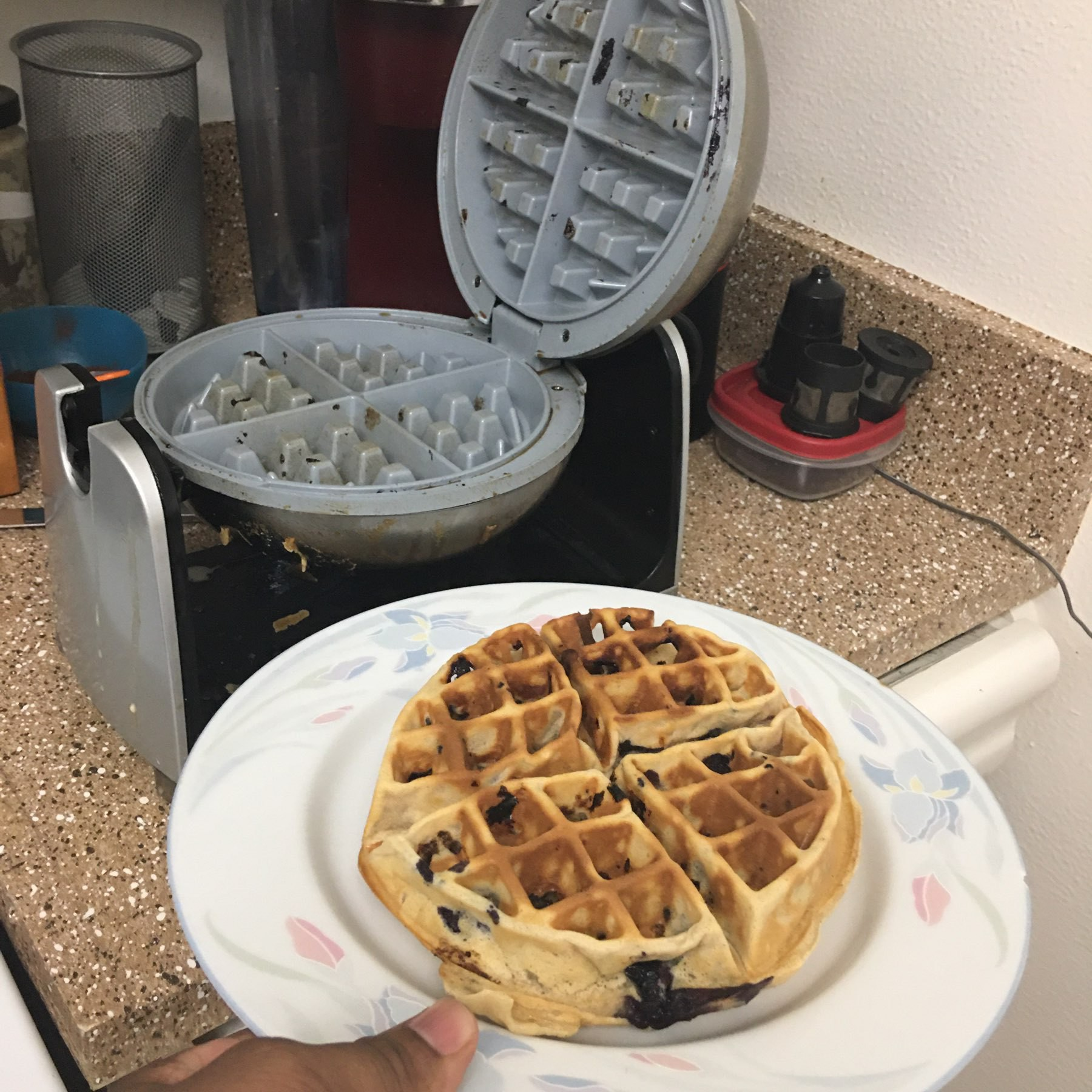 waffle fresh out of the maker.