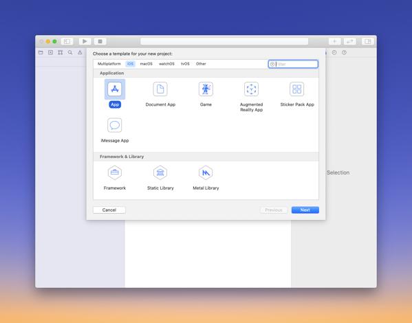 Xcode main window
