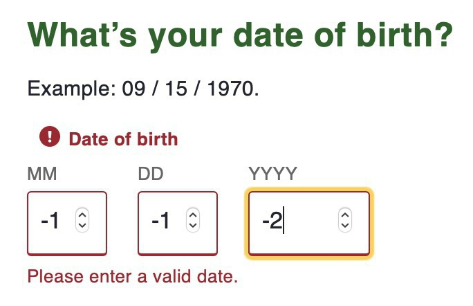 Invalid dates in dropdowns.