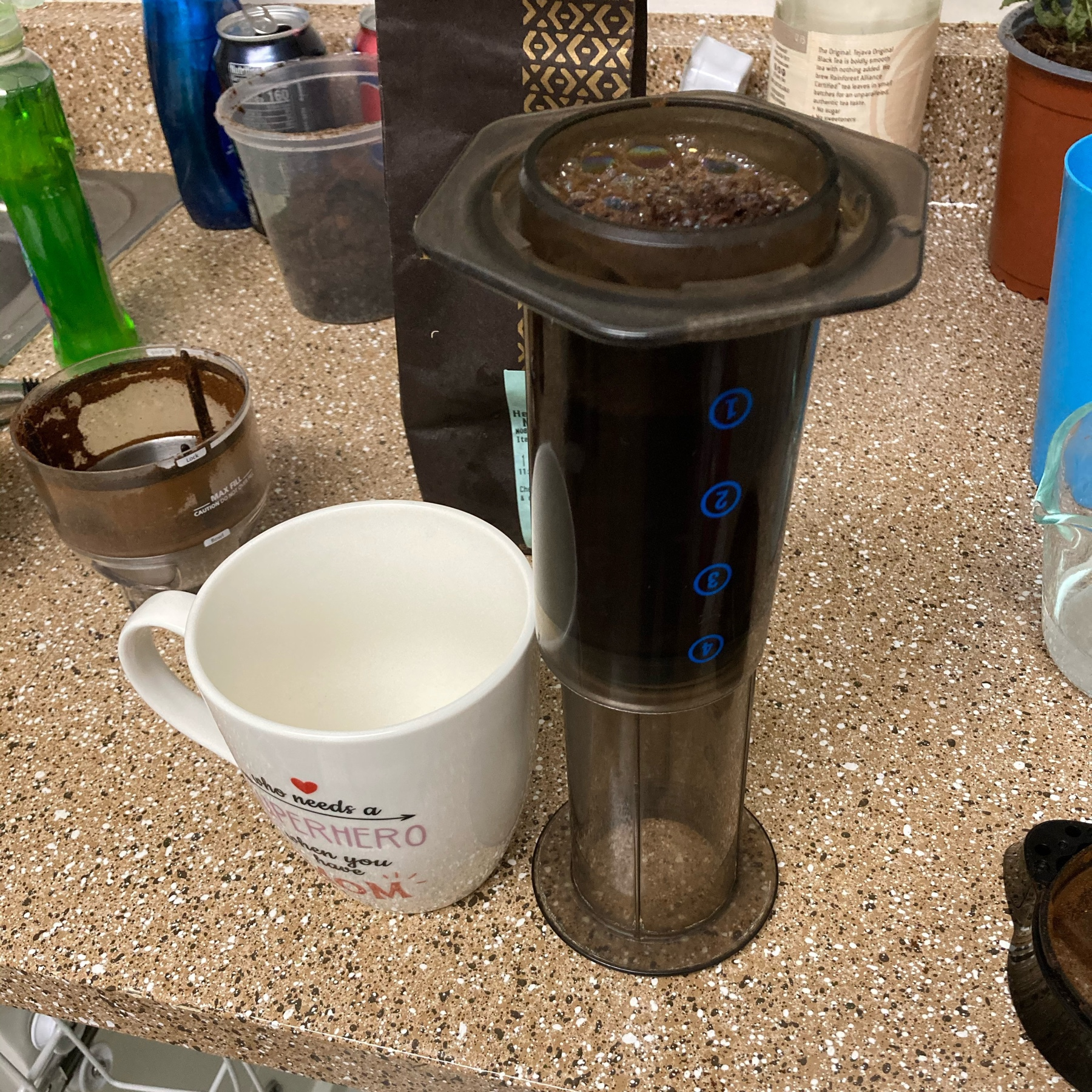 Aeropress making coffee.