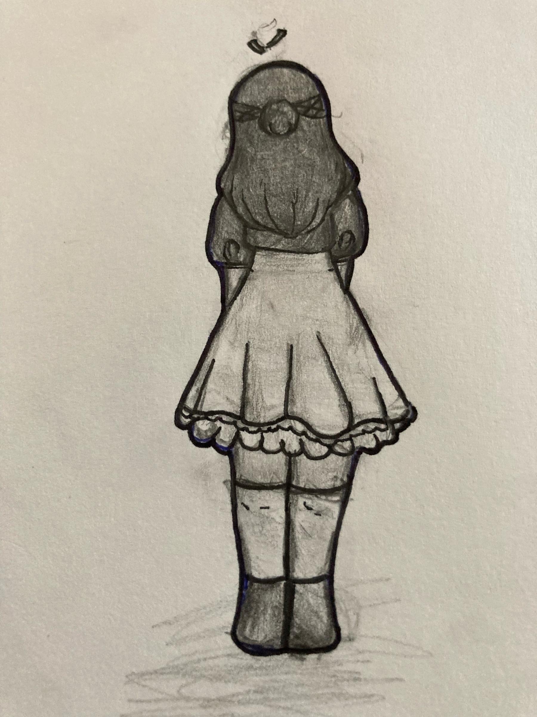 Girl facing away.