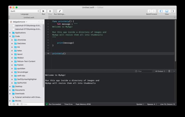 CodeRunner running a code.