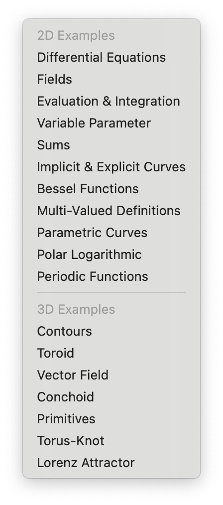 List of built in examples