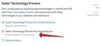 Safari beta for Big Sur coming soon.