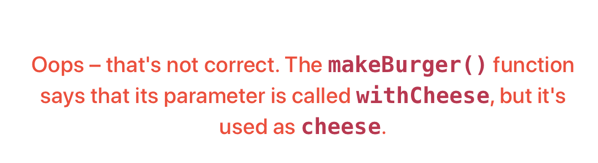 Error message when you make a mistake